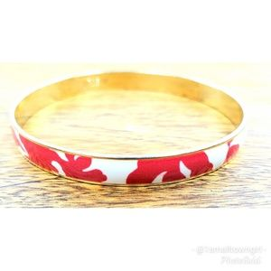 J. Crew hibiscus bangle bracelet red/white/gold